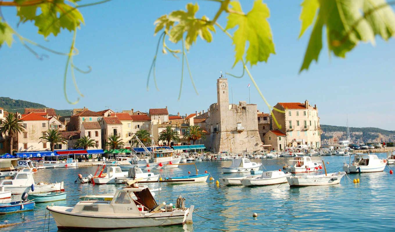 хорватия, город, море, хорватии, комижа,
