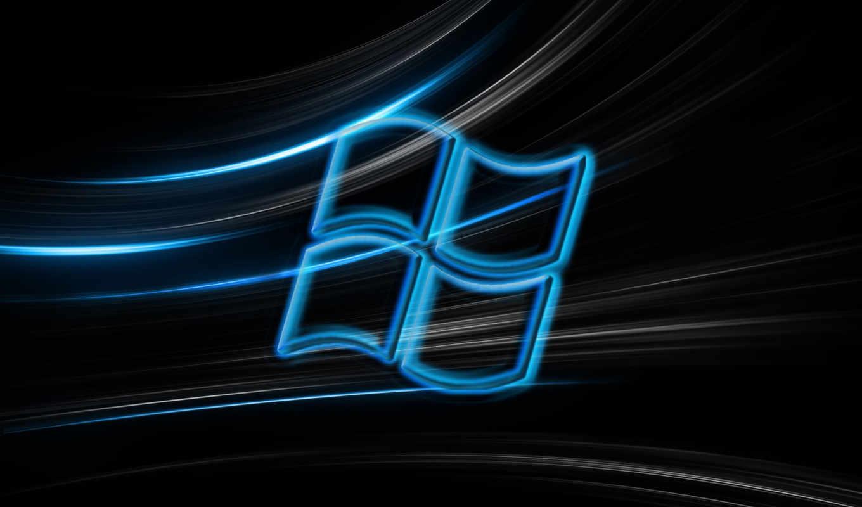 windows, лого, чёрный, синий