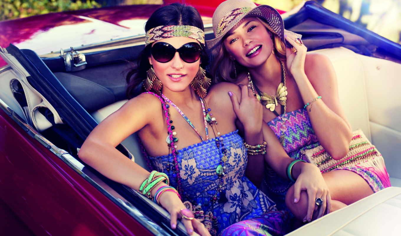 украшения, модели, devushki, девушка, авто, очках, стиль, шляпа,