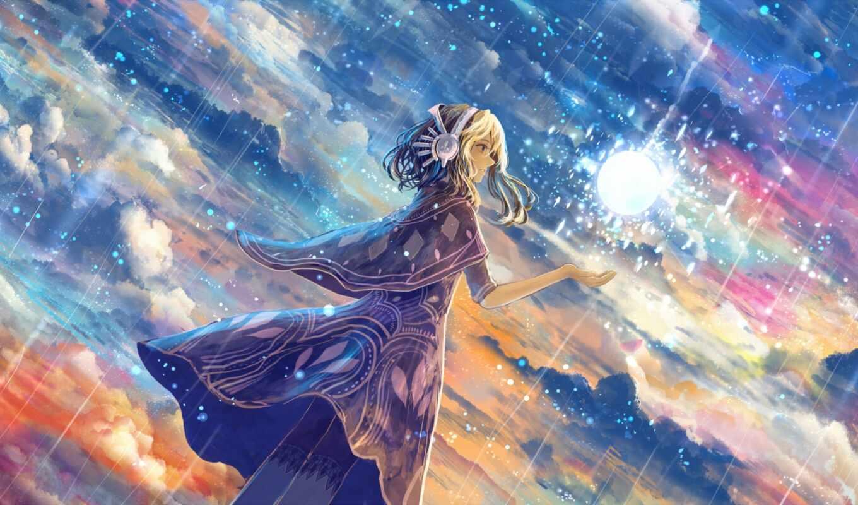 anim, девушка, арта, небо