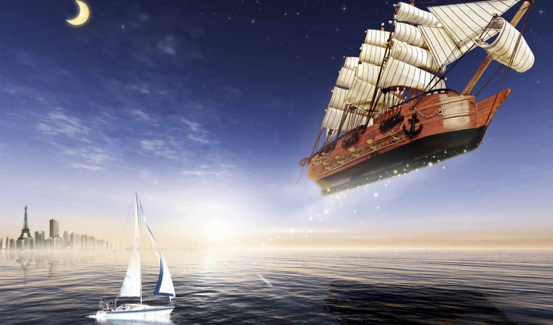луна, парусник, летучий, корабль, яхта, море,