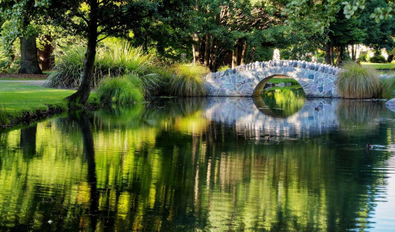 мостик, парк, пруд, природа, картинку,