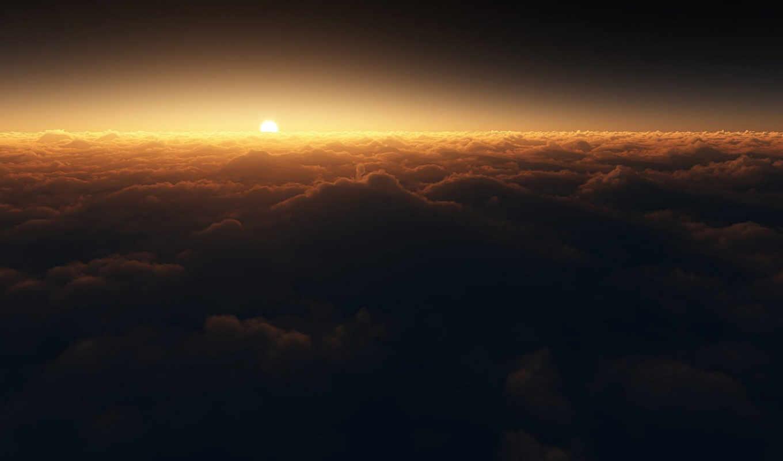 солнце, облака, spectral, shifted, закат, reality, desktop,