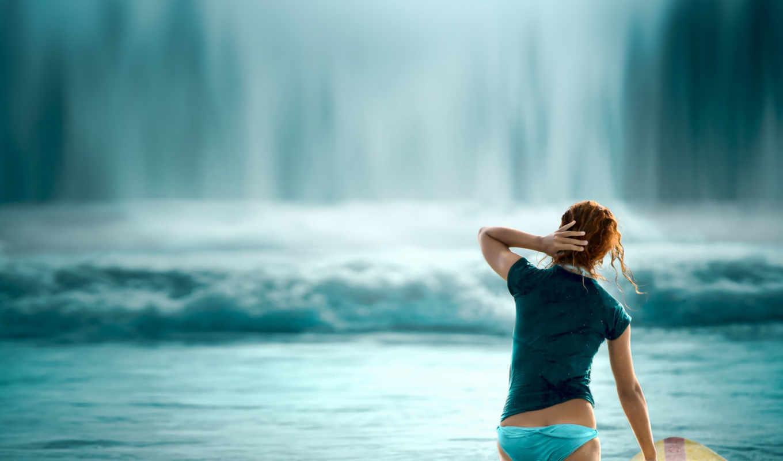 серфер, сёрфинг, спорт, девушка,