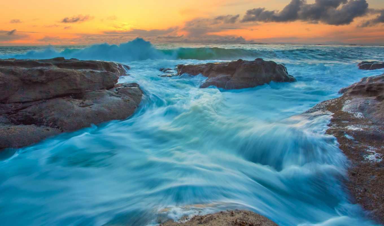 ocean, закат, природа, usa, камни, волны, state, oregon, прилив, пляж,