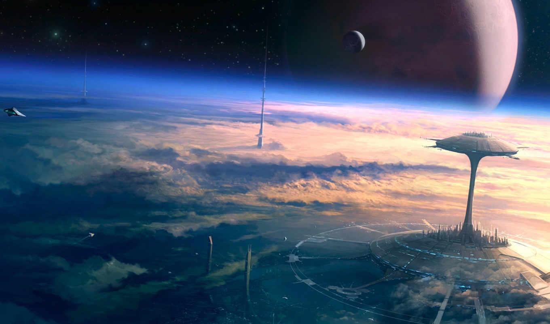 город, будущего, планета, будущее, небо, баш,