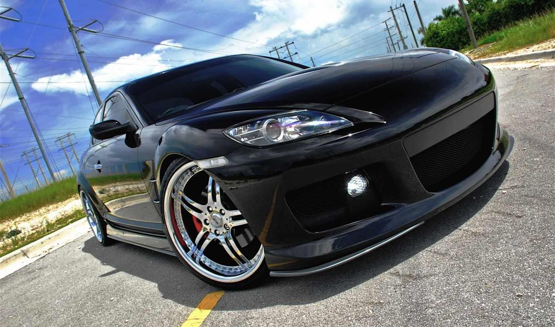 mazda, дорога, черная, фары, автомобили, авто, машины, диски, небо, фара, картинка, черный,