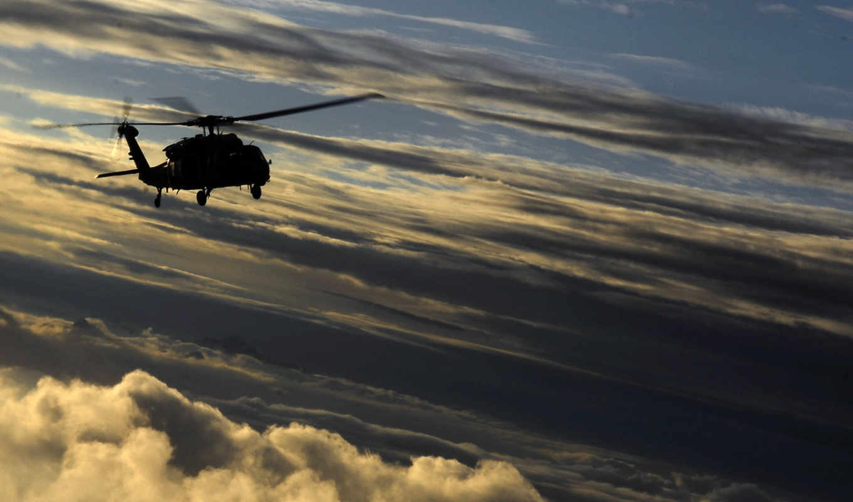 облака, лопасти, вертолет, картинка,