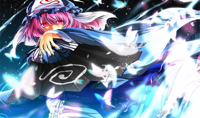 saigyouji, yuyuko, touhou, hair, pink, with, аниме, cartoon, picsfab, dress, similar, girl, фабрика, amazing, fan, nekominase, blue, eyes,