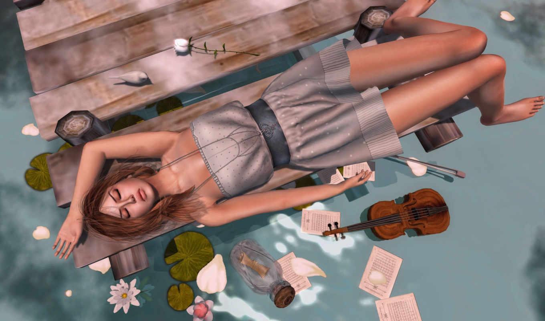 девушка, скрипка, цветы, water,