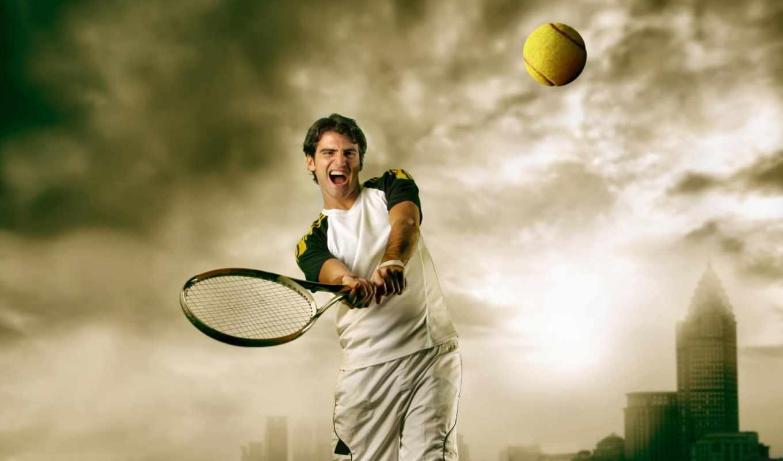 тучи, теннис, ракетка, мужчина, город, мяч, картинка, sport,