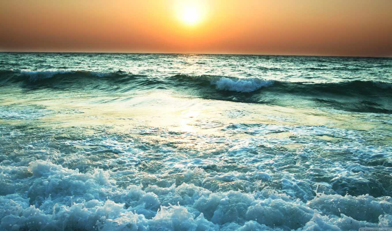 фотообои, поток, waters, море, water, рассвет, воде,