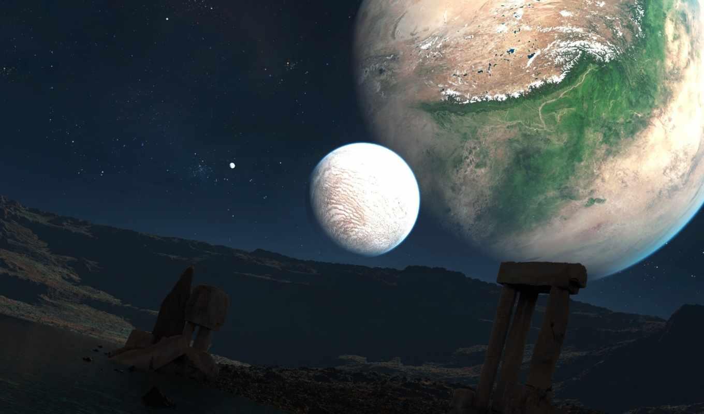 звезды, руины, планеты, небо, спутники, озеро, колонны, ландшафт, арки,