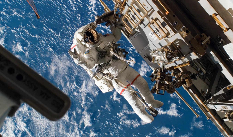 земля, станция, космонавт, вид, космос, картинка, вертикали, имеет, горизонтали,