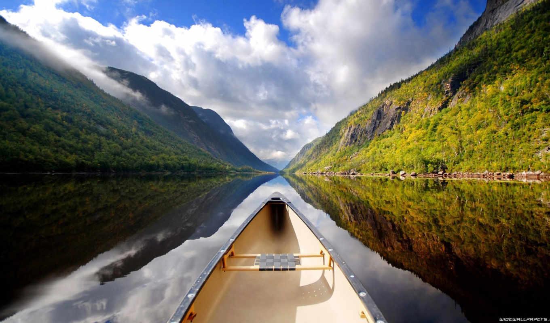 лодка, landscape, облака, небо, река, freedom, гора, ipad,