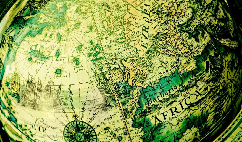 зелёный, мира, map, шар, старину, под,