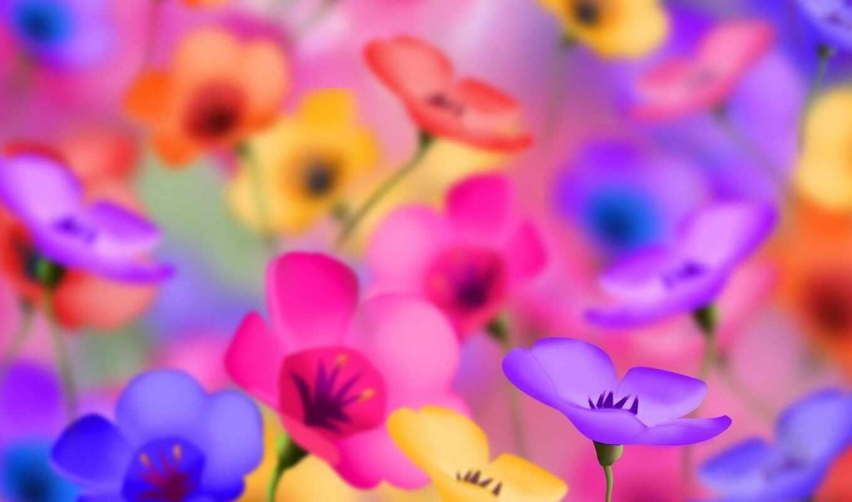 яркий, цветы, funart
