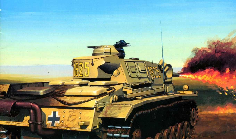 танк, вермахт, рисунок, мировая, огнеметный, немцы, вторая, wydawnictwo, militaria, картинка,