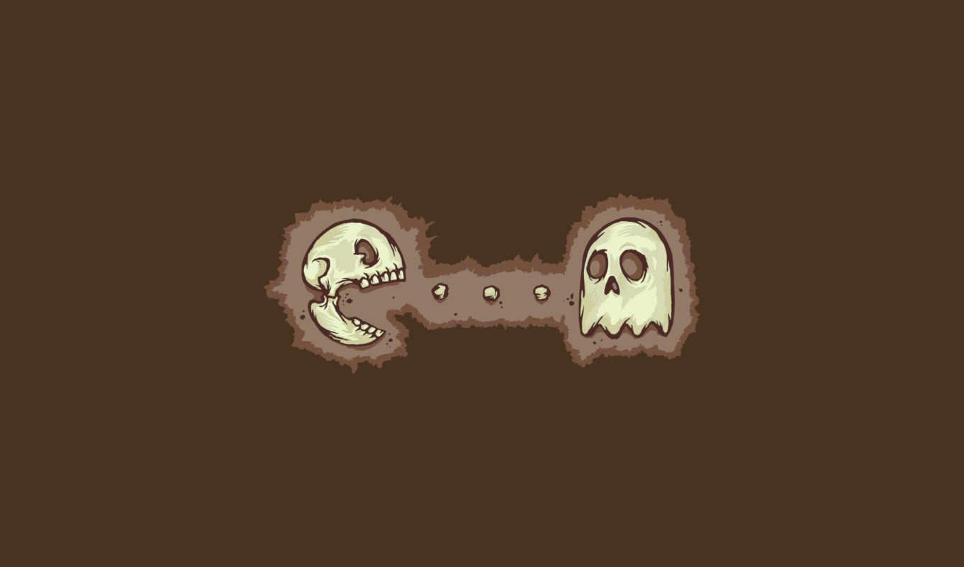 pacman, череп, пакмен, картинка,