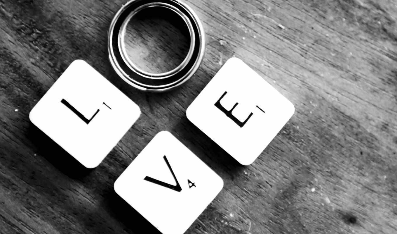 love, буквы, кользца, древесина, чёрно-белый