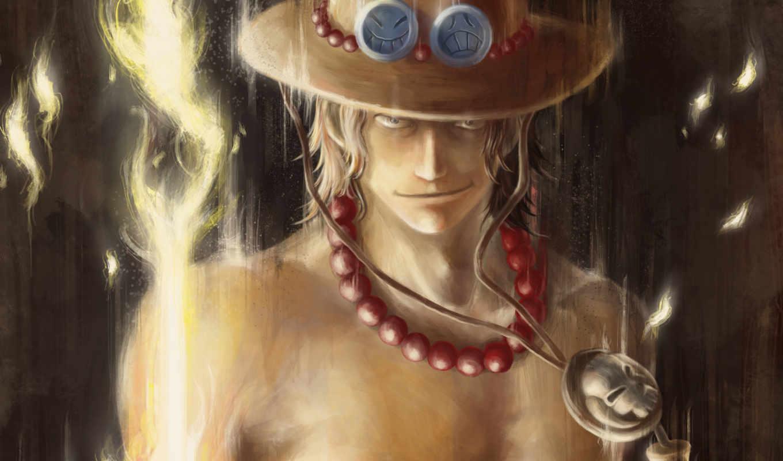 one, piece, art, anime, ace, огонь, парень, portgas, шляпа,