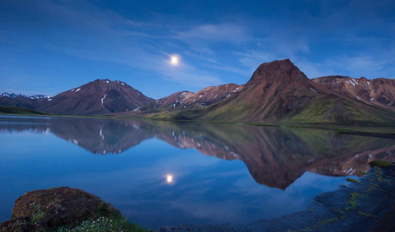 iceland, горы, озеро, природа, картинка, сумерки, вечер,