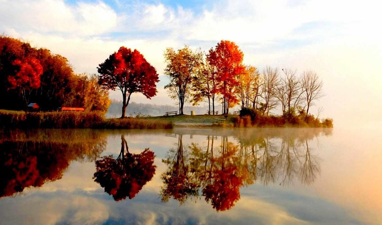 Отражение в воде картинки осень, формата