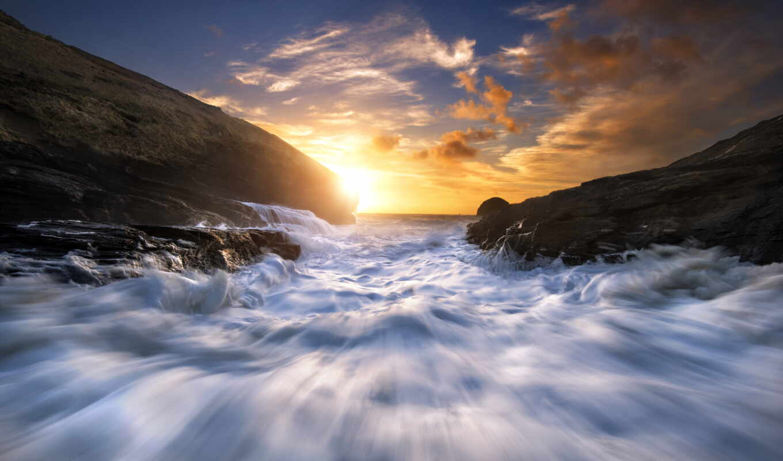море, inch, закат, гора, горизонт, волна