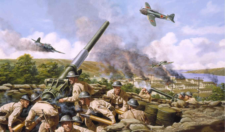 cannon, wallpapers, army, painting, art, солдаты, самолеты, пушка, wallpaper, photo, армия, пушки, рисованные,