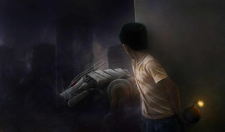 мальчик, бомба, рисунок, робот, бомбой,
