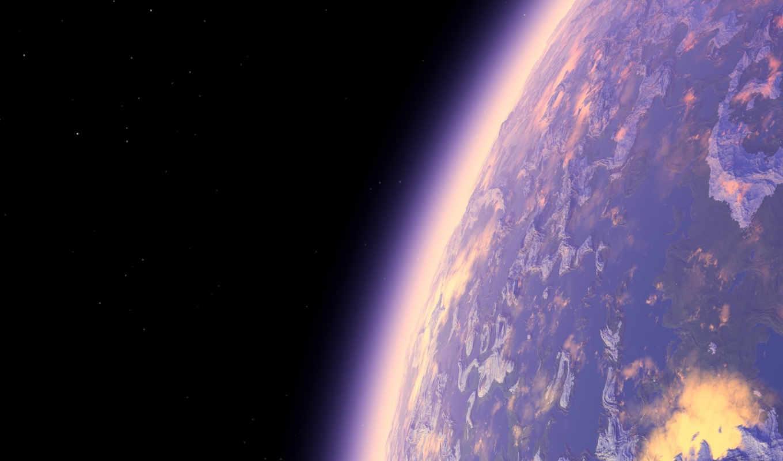 космос, атмосфера, планета, арт, рендер,