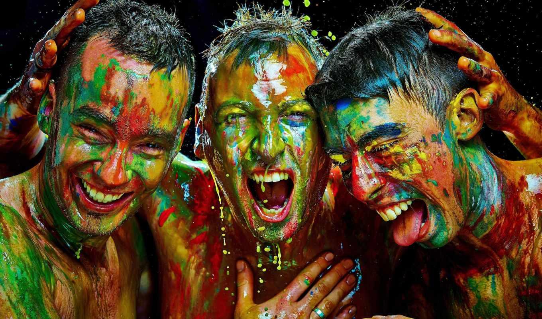 парни, настроение, краска. люди, мужчины ...,