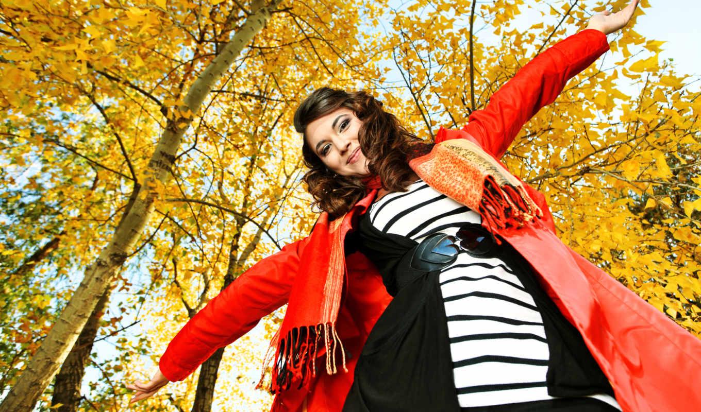 радость, девушка, осень, деревья, красный, желтый, улыбка, пояс, сердце