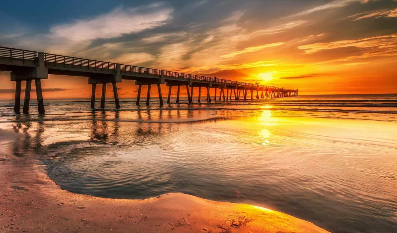 закат, море, pier, берег, landscape, мост, небо, oblaka,