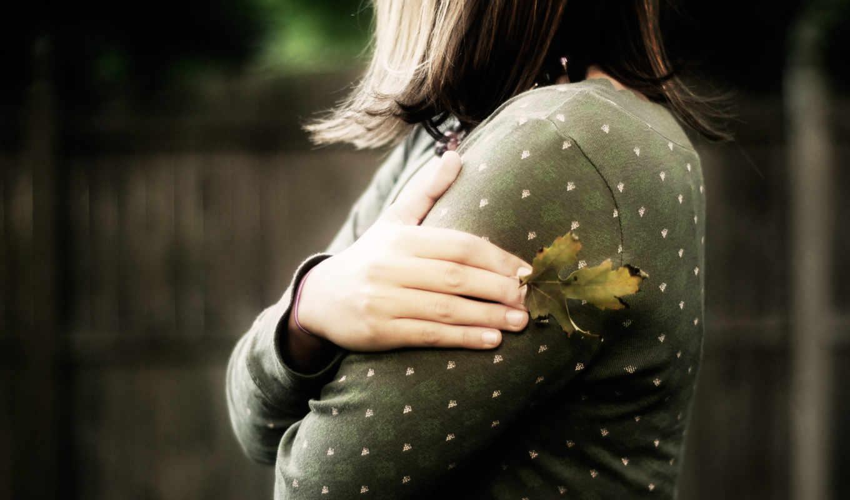 осень, грусть, девушка, лист,