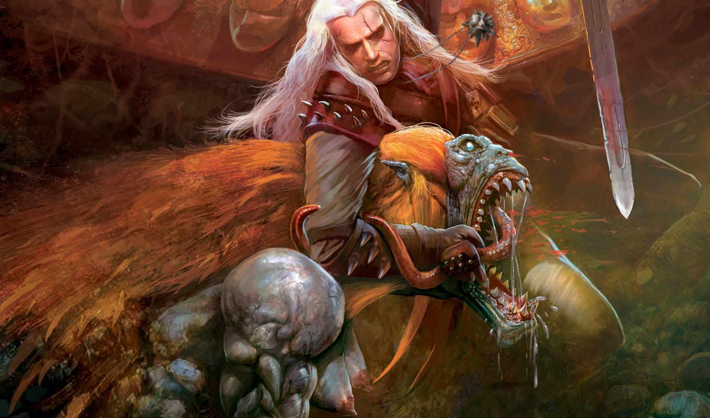 witcher, картинка, игра, эпизод, рисунки, медальон, игры, стрыга, меч,