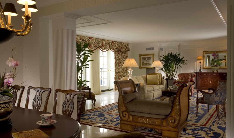 диван, комната, подушки, ковёр, гостиная, мебель, окно, лампы, рисунки,