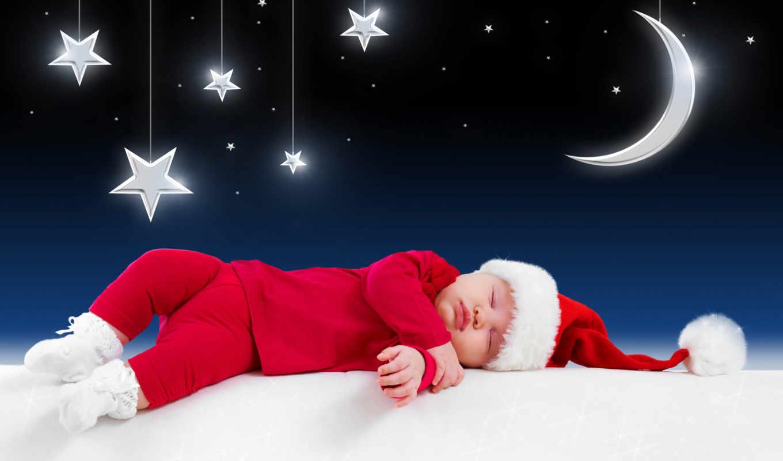спит, ребенок, иней, спать, кровать, дед, christmas, new, год,