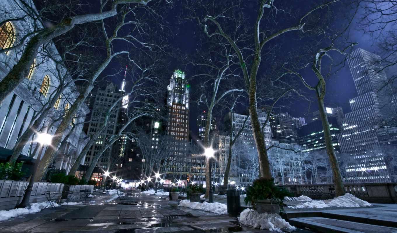 zima, noch, огни, gorod, нью, йорк,