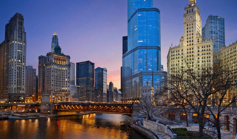 ,chicago, вечер,город,река,