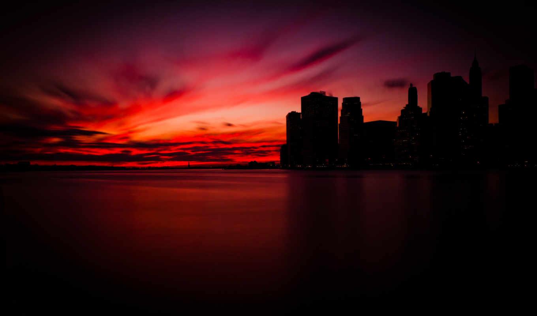 york, new, manhattan, нью, город, металл, black, манхэттене, закат,
