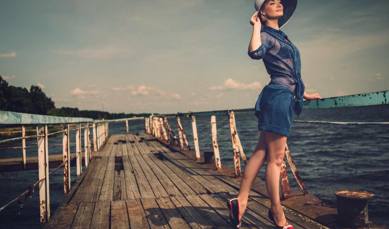 девушка, платье, красивая, женщина, стильная, улыбка, пирс,