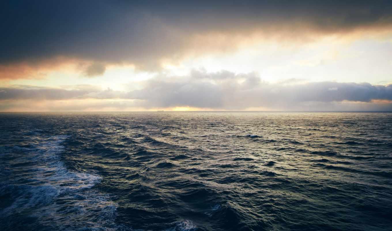 ocean, море, waves, природа, небо, water, oblaka, широкоформатные,