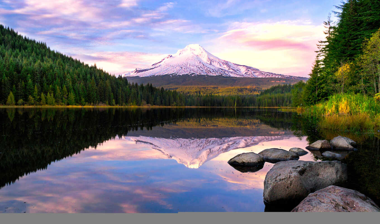 national, fore, капюшон, озеро, park, trillium, oregon, поездка, reflect, день, crater