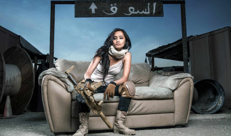девушки, автомат, девушка, оружие, оружием, unsort, диван,