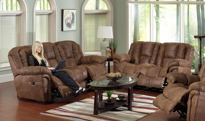 диваны, кожаные, окна, интерьер, гостиной, диван, мебель, июня,