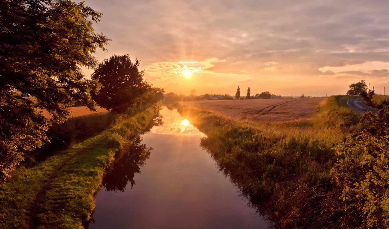 река, summer, sun, небо, природа, берега, отражение,