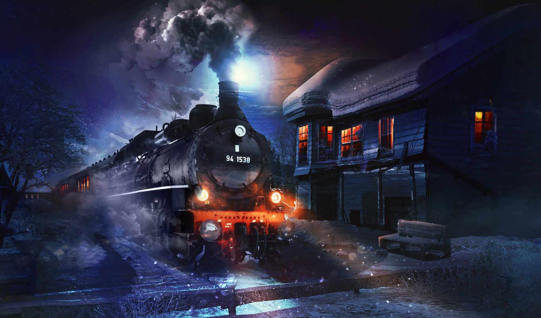 поезд, локомотив, пейзажи -, stipan, девушка, графика, креатив, ночь, free,