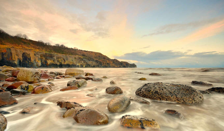 waves, камни, берег, море, рассвет, desktop, пейзажи -,