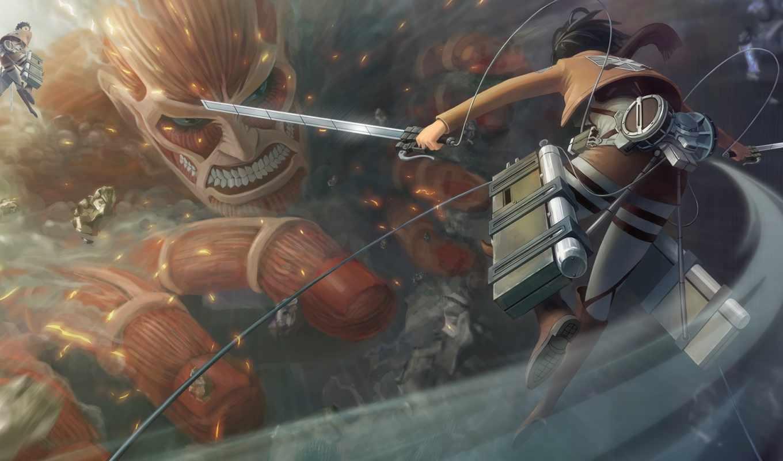 , attack on titan, action-adventure game, cg artwork, компьютерная игра, приключенческая игра, игрище, скриншот, иллюстрация, вымышленный персонаж, strategy video game, пространство, mikasa ackerman, eren yeager, attack on titan, linked horizon, shinzou wo sasageyo, sound horizon, аниме, shinzo wo sasageyo! (tv size)
